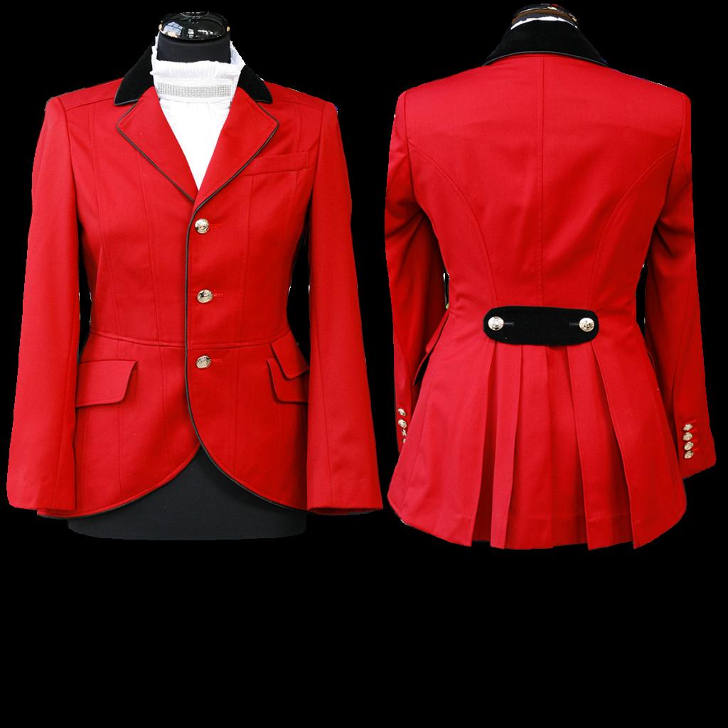 Red, black velvet collar
